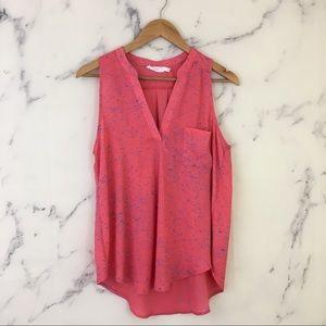 Lush Pink Blue Space Dye Split Neck Sleeveless Top